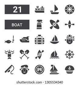 boat icon set. Collection of 21 filled boat icons included Sailor, Sailboat, Metro, Militar, Fishing rod, Helm, Sail boat, Kayak, Oar, Fishing, Pirate, Transport, Yacht