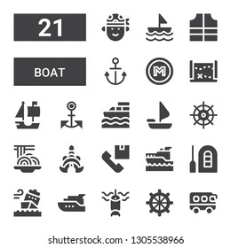 boat icon set. Collection of 21 filled boat icons included Bus, Helm, Fishing, Yacht, Ship, Raft, Yatch, Shipping, Thailand, Padthai, Sailing boat, Anchor, Treasure map
