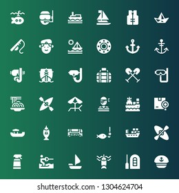 boat icon set. Collection of 36 filled boat icons included Sailor, Raft, Fishing, Sailing boat, Water ski, Desinfectant, Kayak, Ship, Bus, Shipping, Pirate, Beach, Padthai