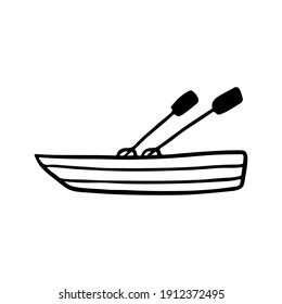 Boat icon. Side view. Black ink sketch silhouette. Vector flat graphic hand drawn illustration. The isolated object on a white background. Isolate.