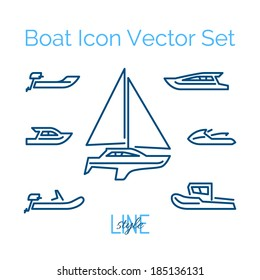 Boat Icon Vector Set Line Style