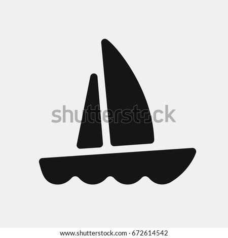 Boat Icon Yacht Raised Sails Floats Stock Vector (Royalty