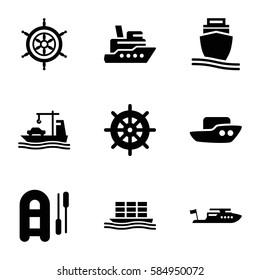 boat icons set. Set of 9 boat filled icons such as helm, cargo ship