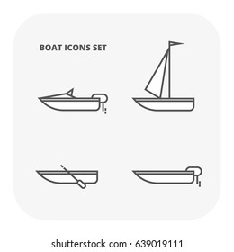 Boat icons set. Flat illustration of 4 ocean water transport vector icons for web
