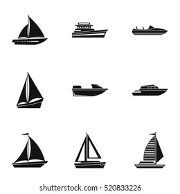 Boat icons set. Simple illustration of 9 boat vector icons for web
