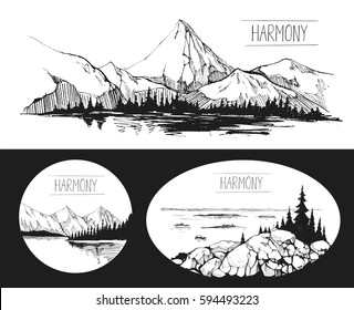 Boat, a lake, pier, mountains. Hand drawn illustration converted to vector Great for travel ads, brochures, labels, flyer decor, apparel, t-shirt print.