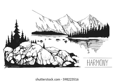 Boat, a lake, pier, mountains. Hand drawn illustration converted to vector. Great for travel ads, brochures, labels, flyer decor, apparel, t-shirt print.