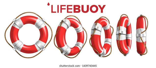 Boat Lifebuoy Ring In Different View Set Vector. Collection Of Red And White Colored Lifebuoy. Classical Ship Equipment Flotation Hoop With Cord For Drowning People In Sea. Realistic 3d Illustration