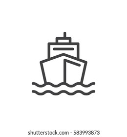 Boat line icon, outline vector sign, linear style pictogram isolated on white. Ship by sea symbol, logo illustration