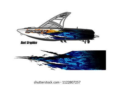 boat livery Graphic vector. abstract racing background design for vehicle vinyl wrap