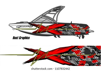 Boat livery Graphic vector. design of  abstract racing background for vehicle vinyl wrap
