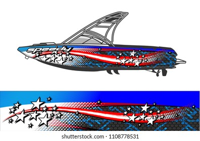 Boat livery vector. abstract background for vehicle vinyl wrap.