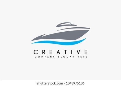 Boat logo design vector illustration. Boat icon design. Suitable for business and transportation logos isolated on white background