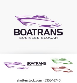 Boat logo design. Yacht, Speed boat and Vacation logo concept. Vector logo template