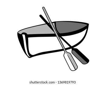 Boat for the logo. A sign or logo - a boat with oars in black and white. Wooden boat sign.