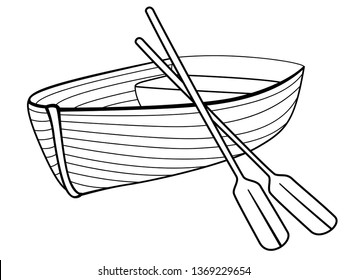 Boat with oars. Rowing boat for romantic walks on the lake or the sea. Lifeboat made of wood. Boat - linear picture for coloring. Outline vector.  hand drawing