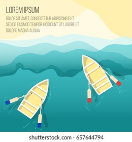 Boat on beach Vector illustration Two wooden rowing boats are drifting on the sea shore on the waves Top view