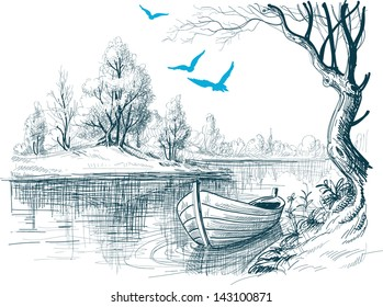 Boat on river / delta vector sketch