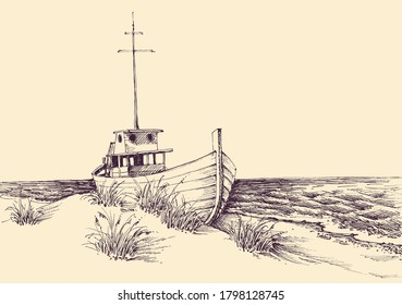 Boat on sea shore hand drawing. Empty beach and idyllic sea view