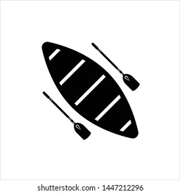 Boat With Boat Paddle Icon, Boat Paddle Pair Vector Art Illustration