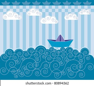 The boat. A paper boat sailing on blue waves. Children's drawings.