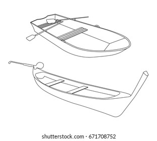 Boat and Pirogue flat icon. Outline Vector Illustration