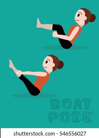 Boat Pose Cartoon Vector Illustration