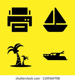 boat, printer, yatch and coconut trees vector icon set. Sample icons set for web and graphic design