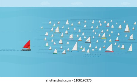 Boat with Red Sail falling behind the Fleet, Sailboats at Sea, Losing Concept, Catching Up. Timing, Development, Challenge, Tough Competition, Last Place, Dare to be Different, Behind the Crowd, Fail