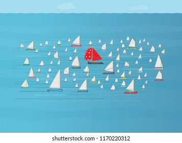 Boat with red sail going in opposite direction to fleet of small sailboats, Going against the crowd, Standing out, Nautical, Dare to be different concept, The opposite direction, Against the flow
