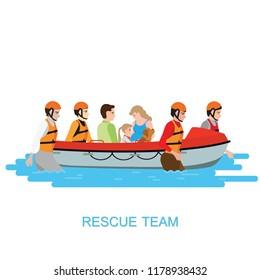 Boat rescue team helping people by pushing a boat through a flooded isolate on white, vector illustration.