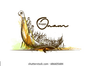 Boat at river on decorative background for South Indian Festival Onam. , Hand Drawn Sketch Vector illustration.