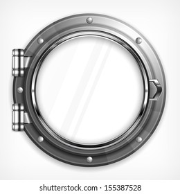 Boat round porthole seascape isolated on white, vector illustration
