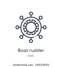 boat rudder icon from people skills outline collection. Thin line boat rudder icon isolated on white background.