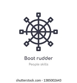 boat rudder outline icon. isolated line vector illustration from people skills collection. editable thin stroke boat rudder icon on white background