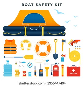 Boat safety kit, set of icons. Water rescue . Survival after a ship wreck. Equipment and tools for saving life. Inflatable raft, lifeline, life jacket, rocket launcher, knife, etc. Vector illustration