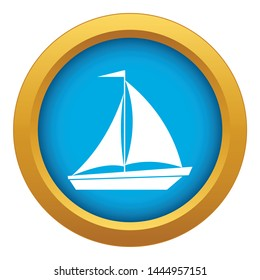 Boat with sails icon blue vector isolated on white background for any design