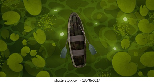 The boat sails through the swamp with water lily leaves top view. Vector cartoon style landscape of green river or ocher surface with aquatic plants and empty rowing boat with two oars.