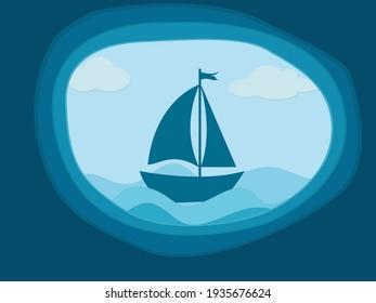 boat in the sea vector illustration