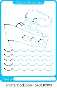 Boat, sea, waves. Preschool worksheet for practicing fine motor skills - tracing dashed lines. Tracing Worksheet.  Illustration and vector outline - A4 paper ready to print.