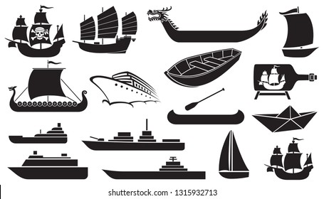 Boat and ship icons set (cruise, canoe, ocean liner, Chinese junk - Asian boat, stylized yacht)