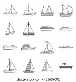 Boat and ship icons set outline. Yachts and sail thin line vector illustration