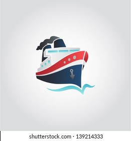 Boat / ship on the sea sign, web icon, vector illustration