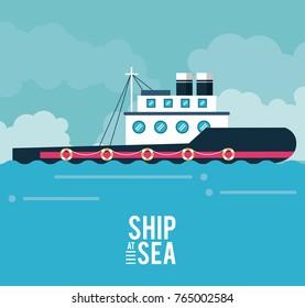 Boat ship at sea