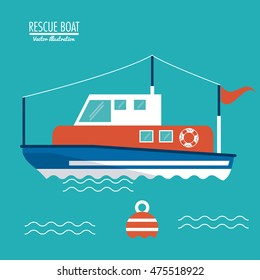 boat ship sea ocen transportation icon. Colorful and flat design. Blue background. Vector illustration