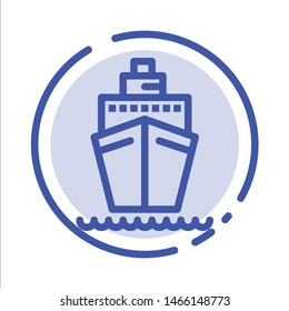 Boat, Ship, Transport, Vessel Blue Dotted Line Line Icon. Vector Icon Template background