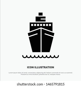 Boat, Ship, Transport, Vessel Solid Black Glyph Icon. Vector Icon Template background