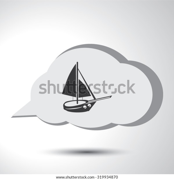 Boat sign flat icon