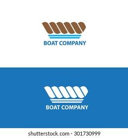 Boat silhouette company logo design rope blue brown color