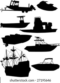 Boat silhouettes.